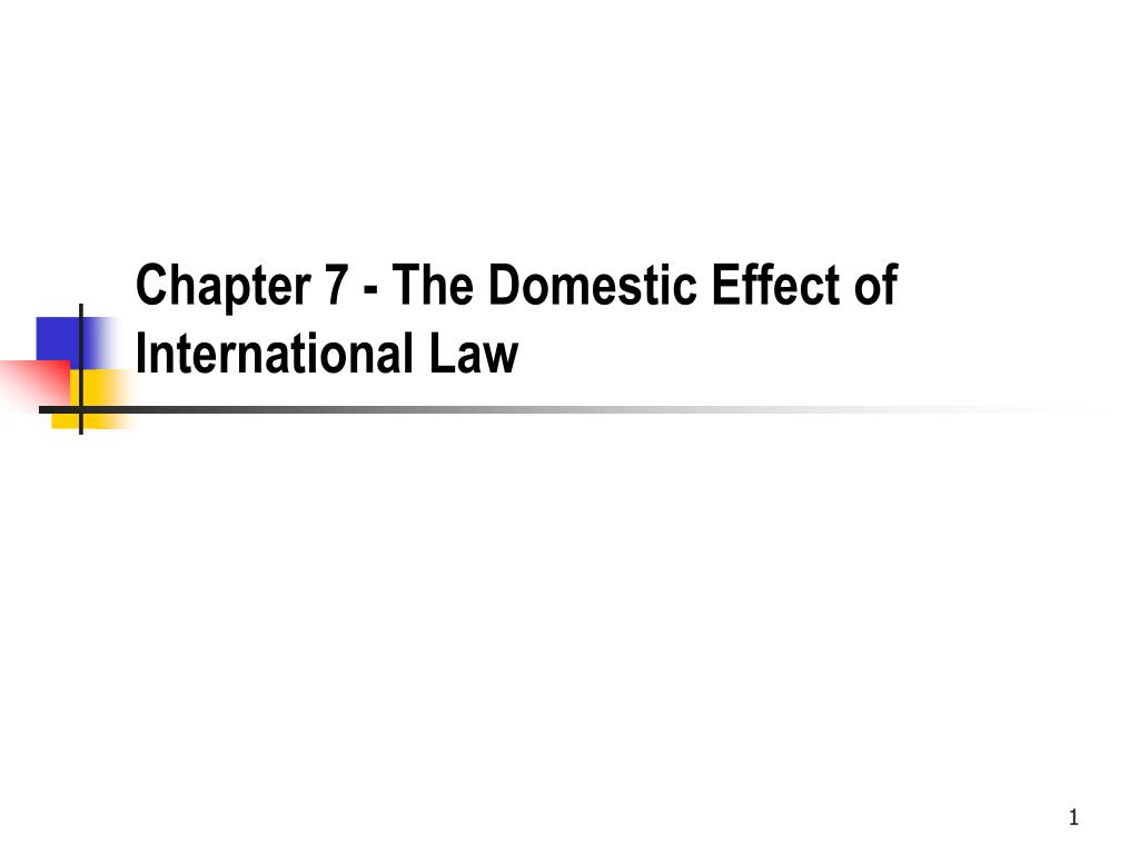 Chapter 7 - The Domestic Effect of International Law