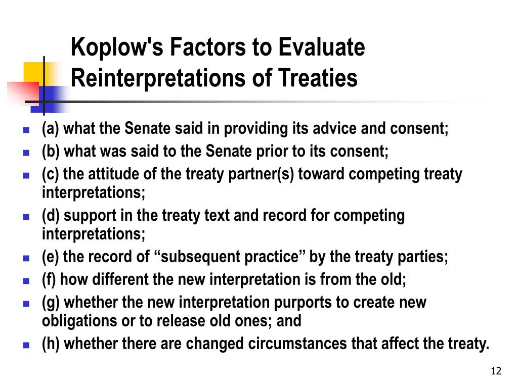Koplow's Factors to Evaluate Reinterpretations of Treaties