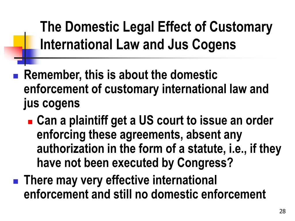 The Domestic Legal Effect of Customary International Law and Jus Cogens