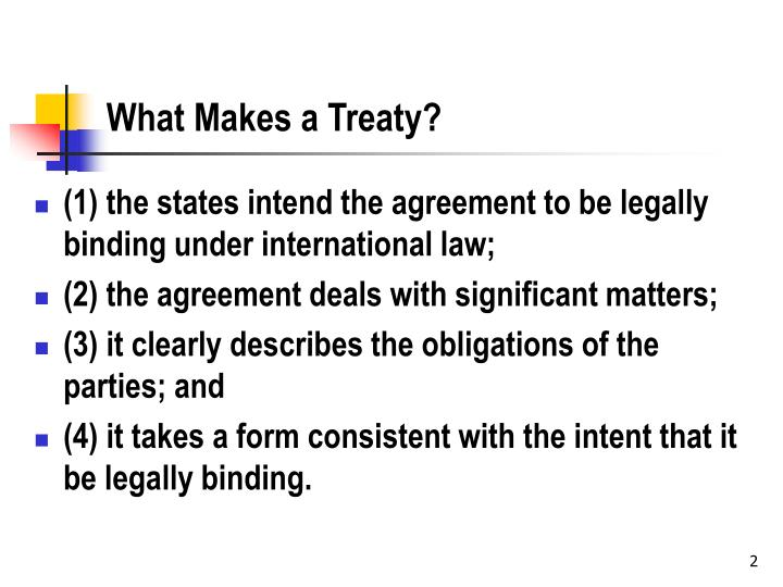 What makes a treaty