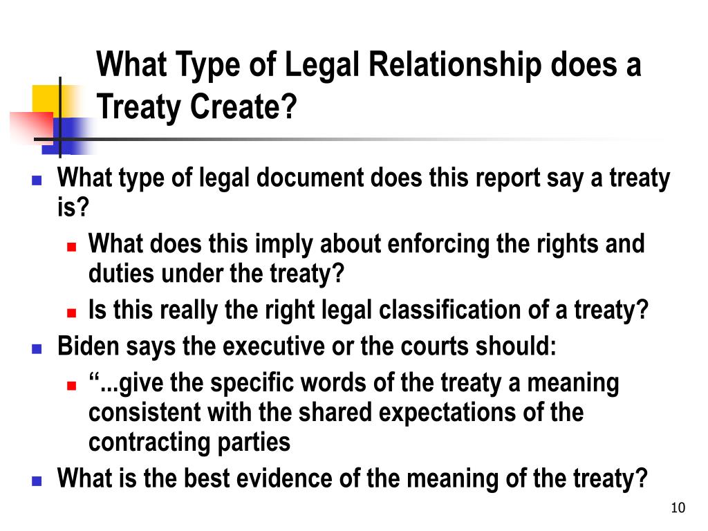 What Type of Legal Relationship does a Treaty Create?