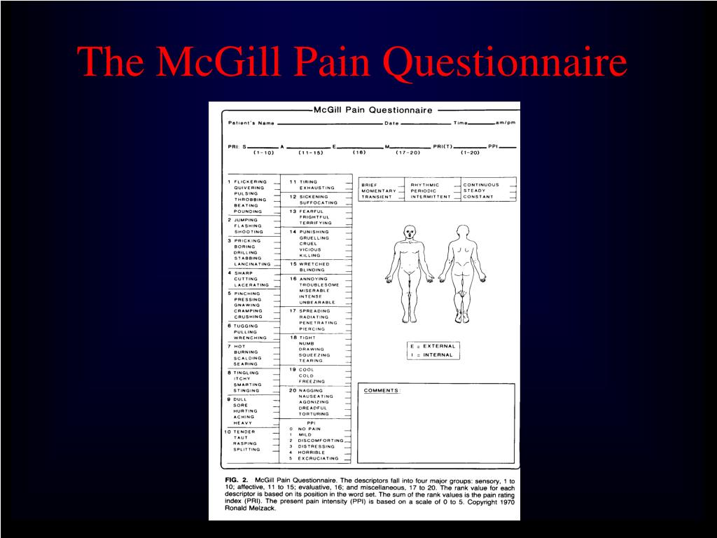 The McGill Pain Questionnaire