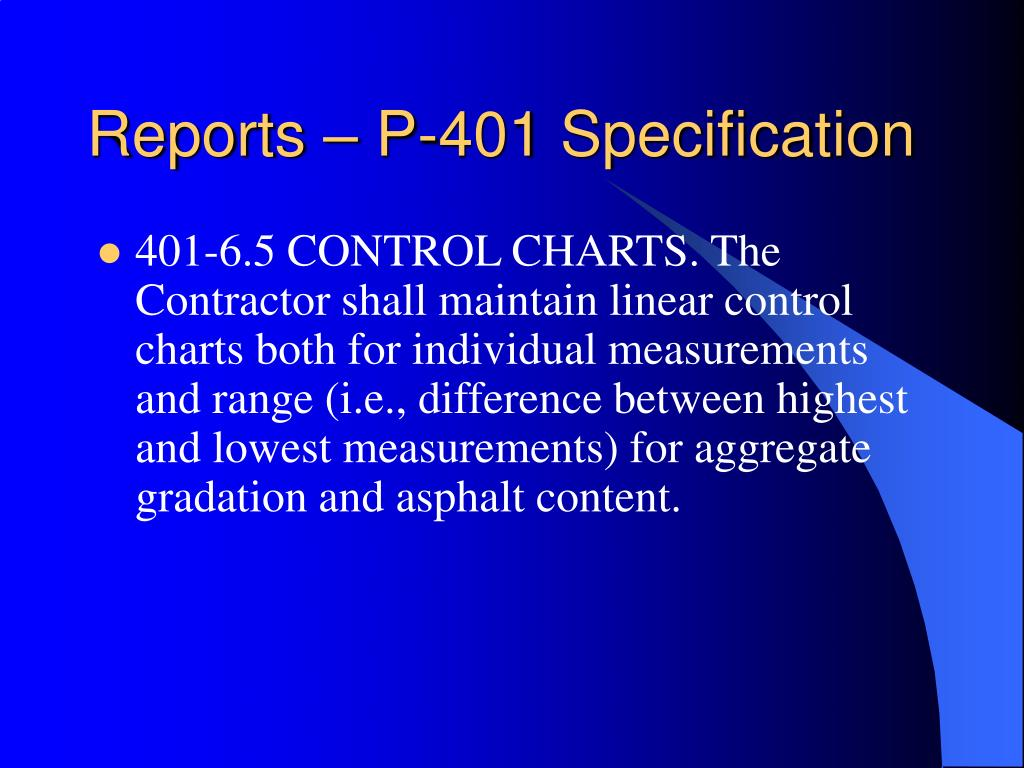 Reports – P-401 Specification