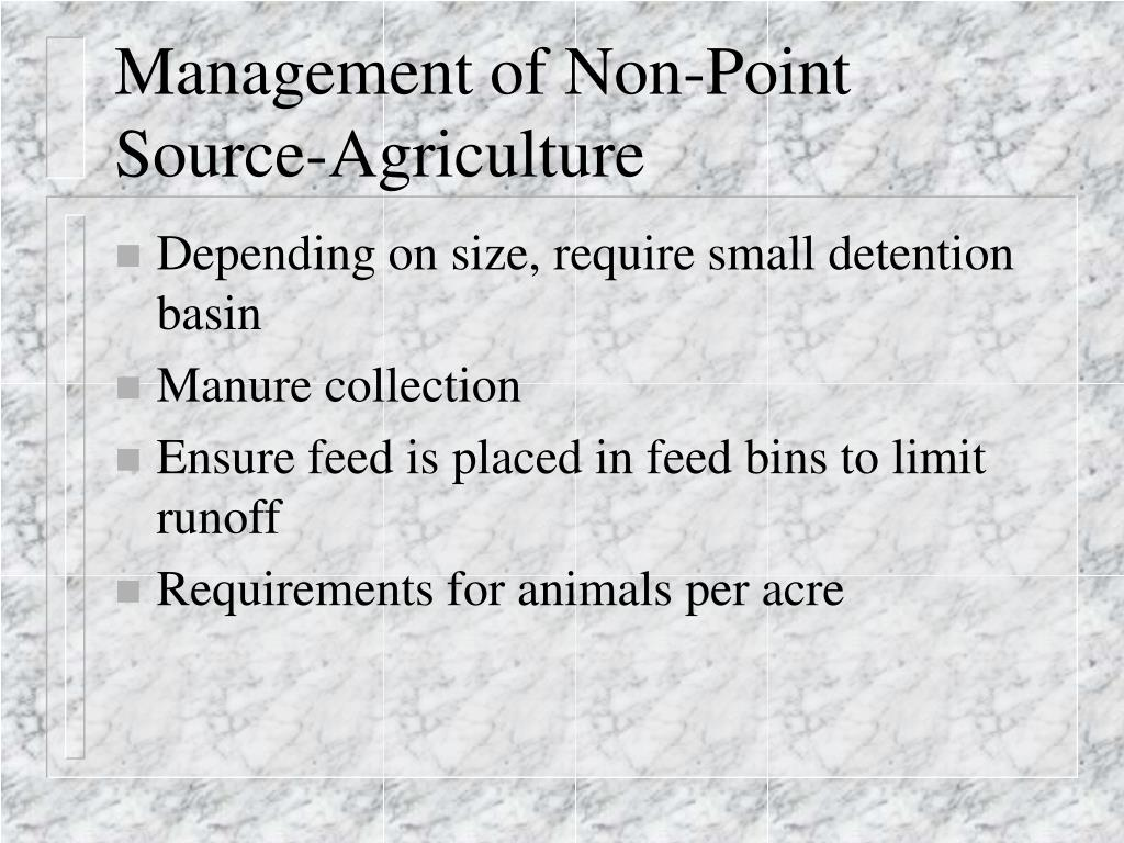 Management of Non-Point Source-Agriculture