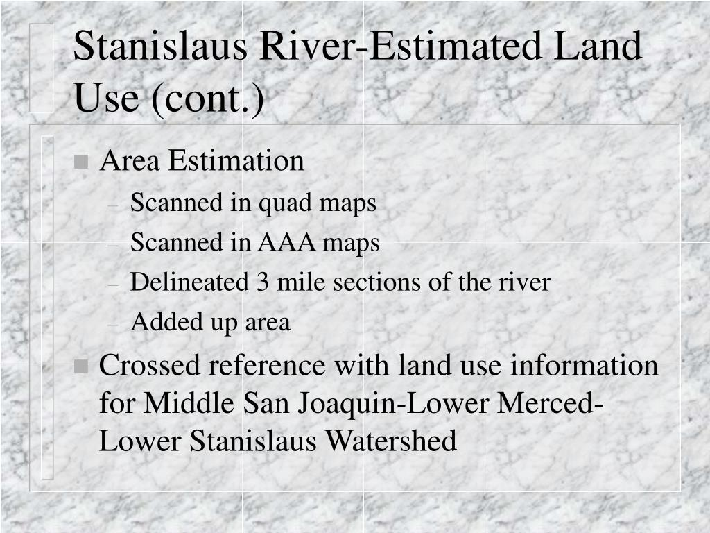 Stanislaus River-Estimated Land Use (cont.)