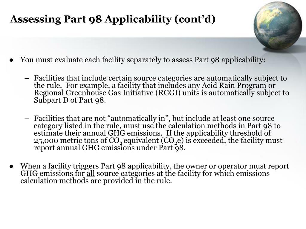 Assessing Part 98 Applicability (cont'd)