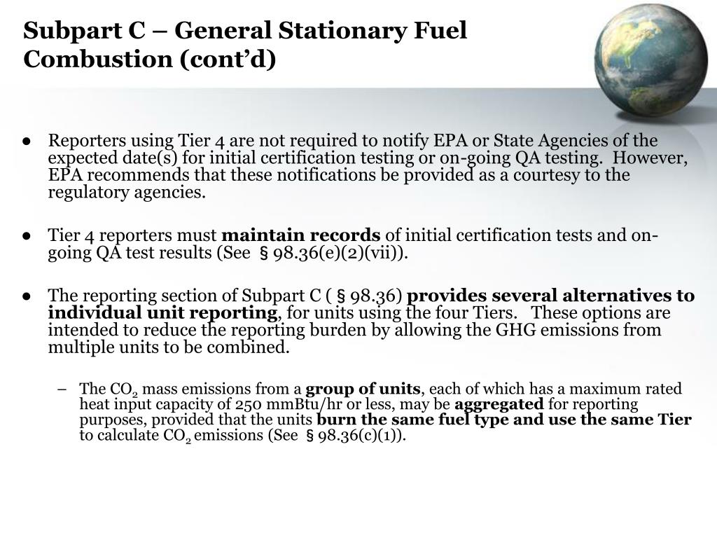 Subpart C – General Stationary Fuel Combustion (cont'd)
