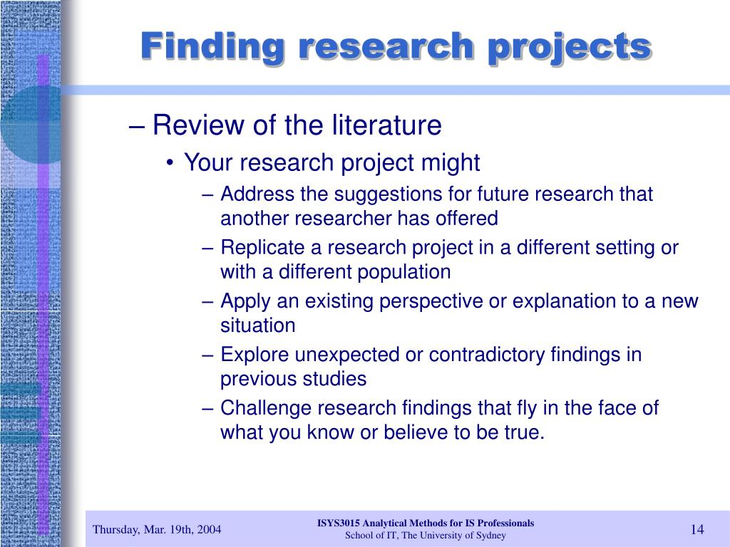 Finding research projects