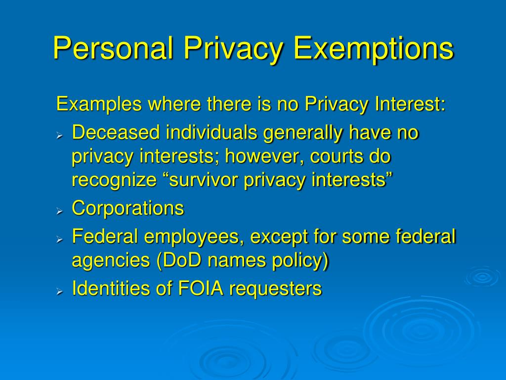 Personal Privacy Exemptions