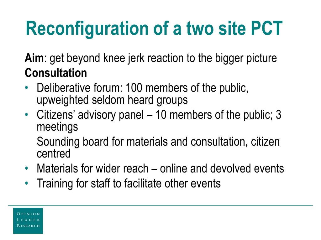 Reconfiguration of a two site PCT