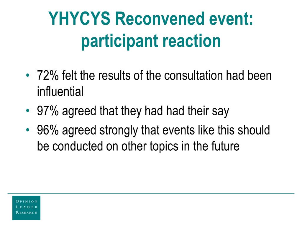YHYCYS Reconvened event: participant reaction