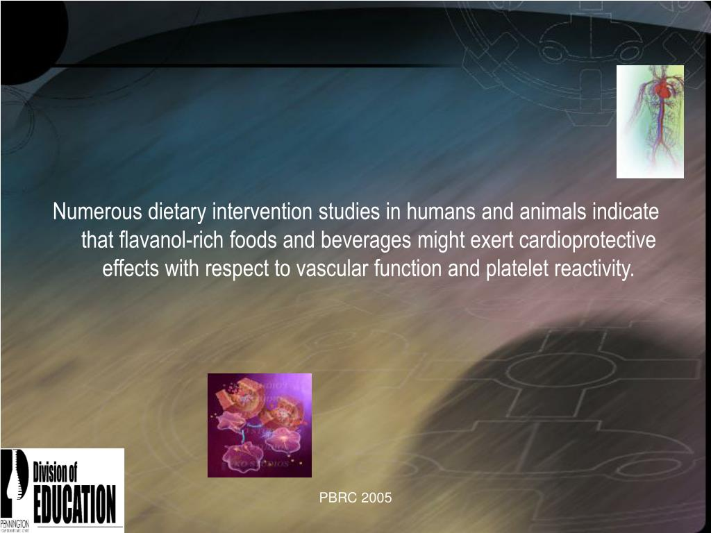 Numerous dietary intervention studies in humans and animals indicate that flavanol-rich foods and beverages might exert cardioprotective effects with respect to vascular function and platelet reactivity.