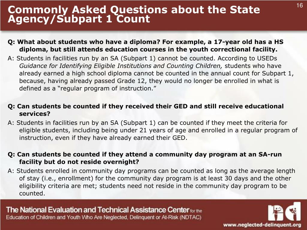 Commonly Asked Questions about the State Agency/Subpart 1 Count
