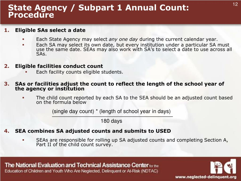 State Agency / Subpart 1 Annual Count: Procedure