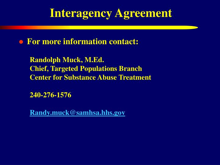 Interagency Agreement