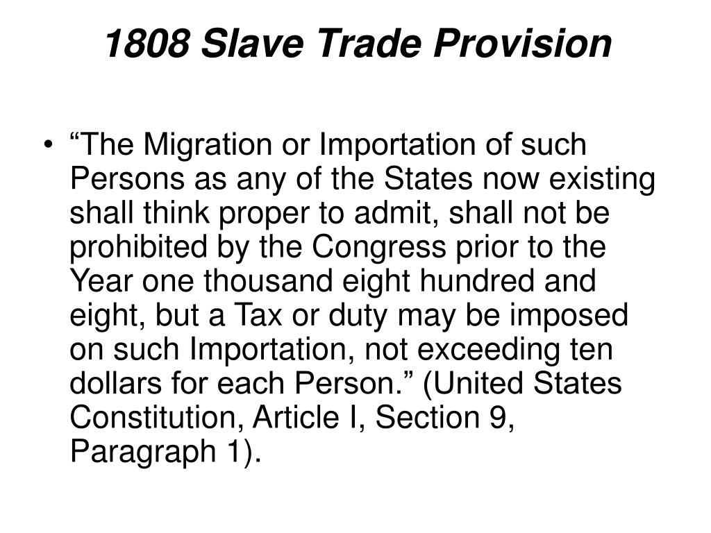 1808 Slave Trade Provision
