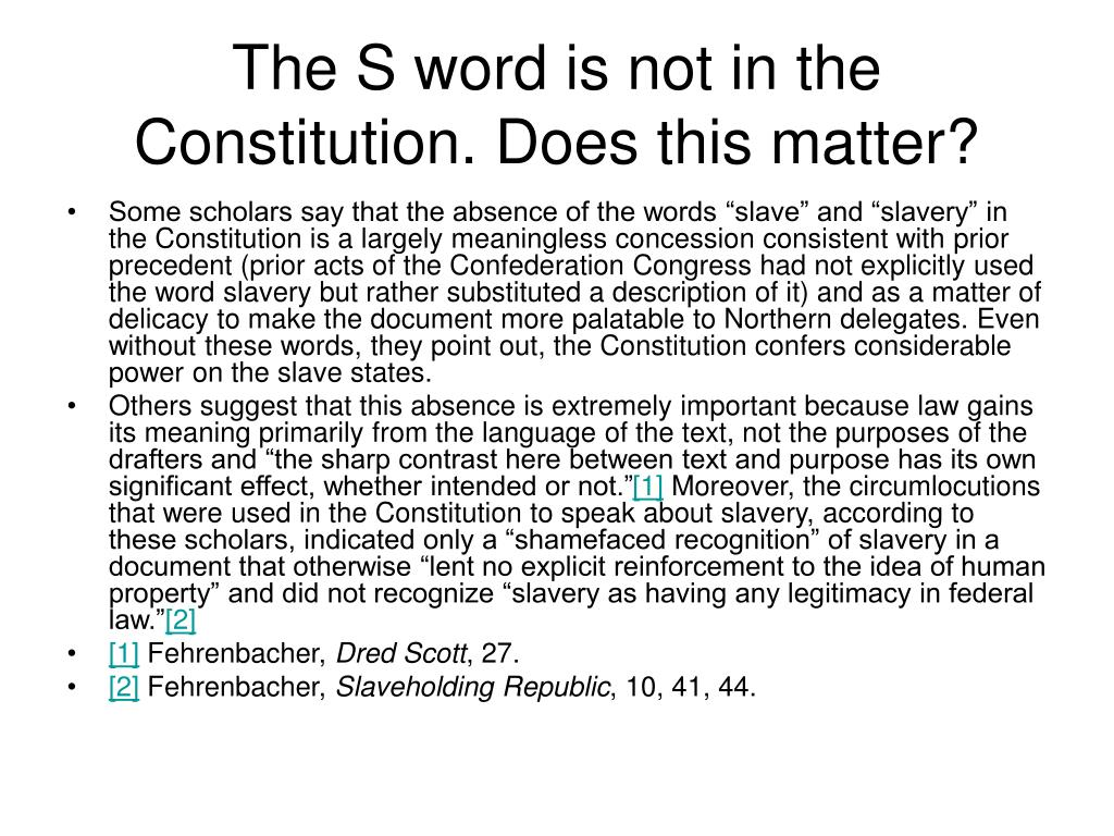 The S word is not in the Constitution. Does this matter?