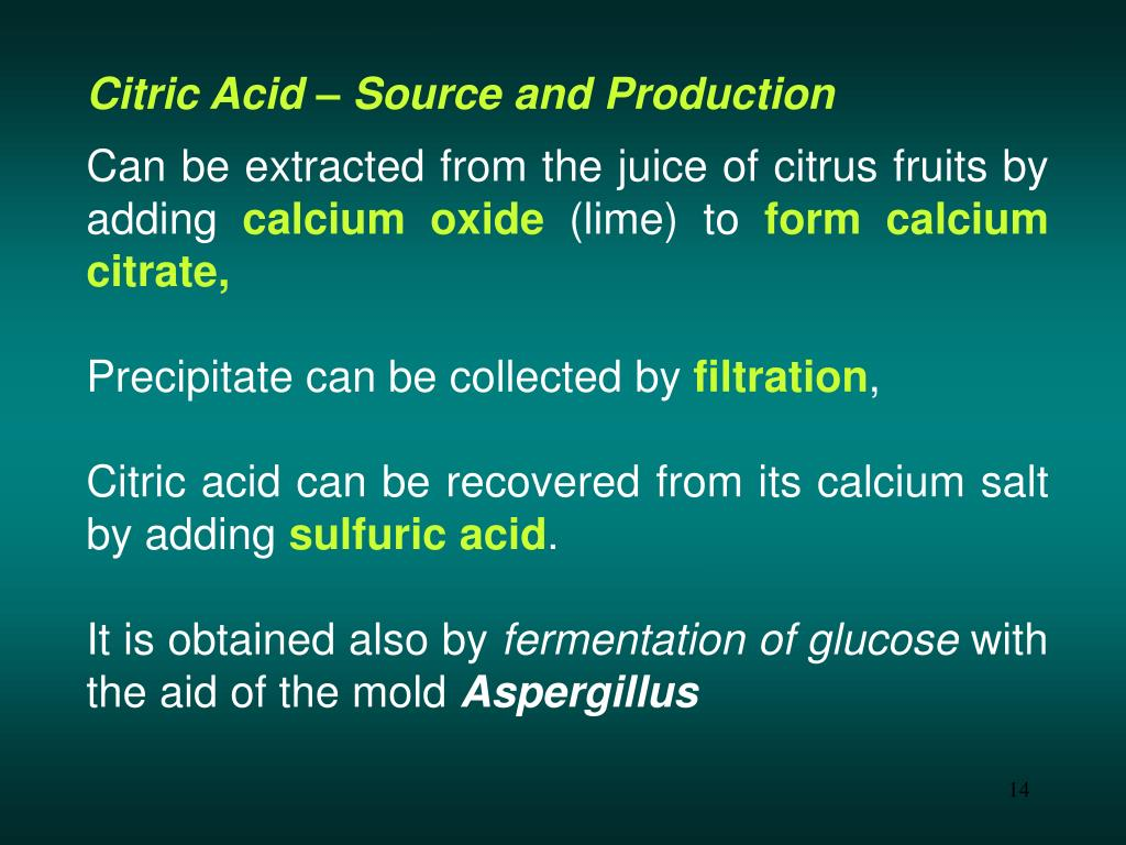 Citric Acid – Source and Production