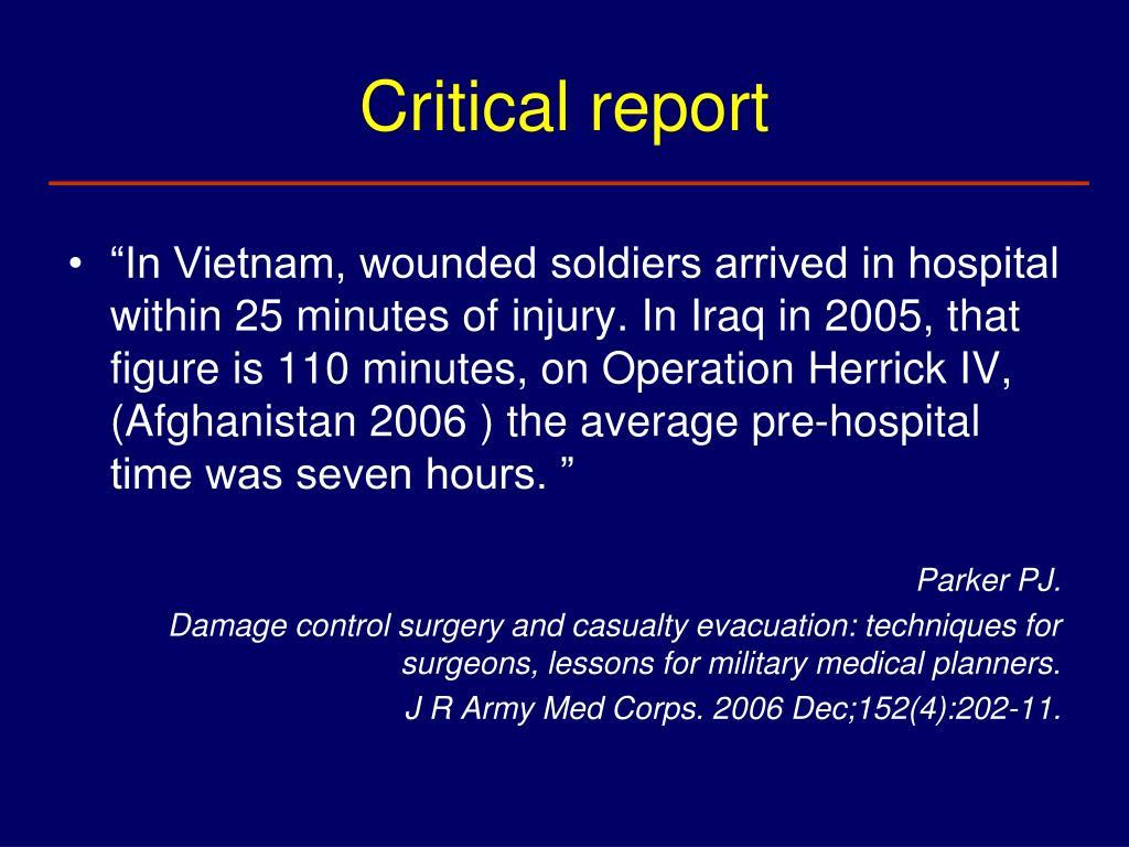 Critical report