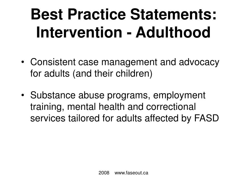 Best Practice Statements: