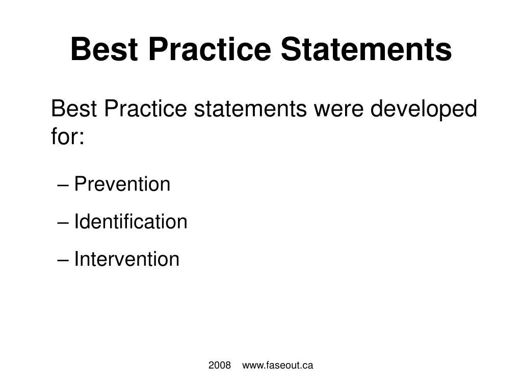 Best Practice Statements