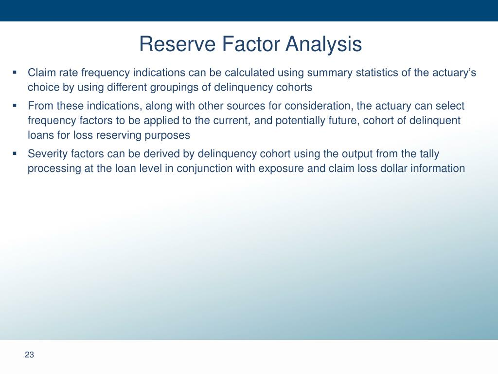 Reserve Factor Analysis