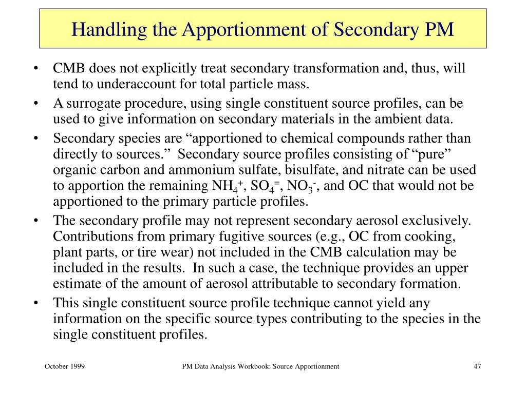 Handling the Apportionment of Secondary PM