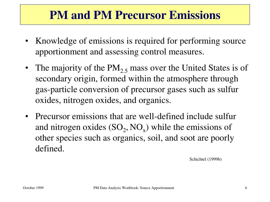 PM and PM Precursor Emissions