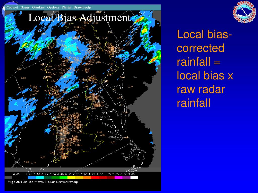 Local bias-corrected rainfall = local bias x raw radar rainfall