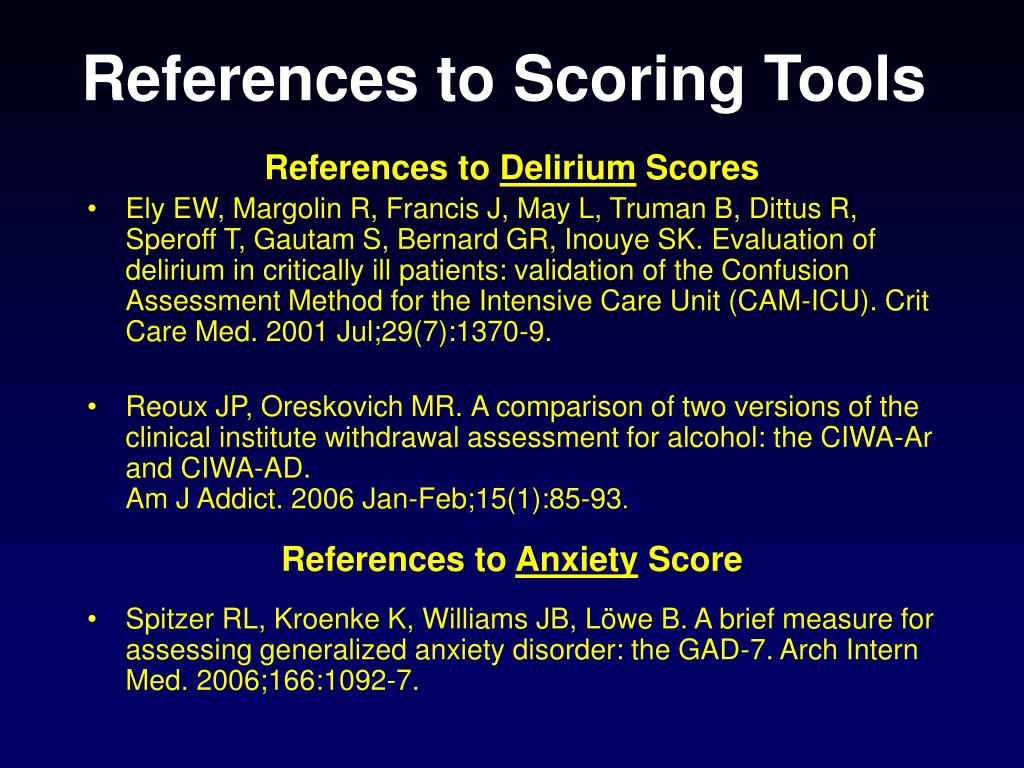 References to Scoring Tools