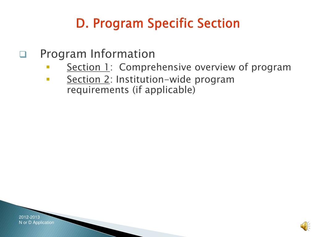 D. Program Specific Section