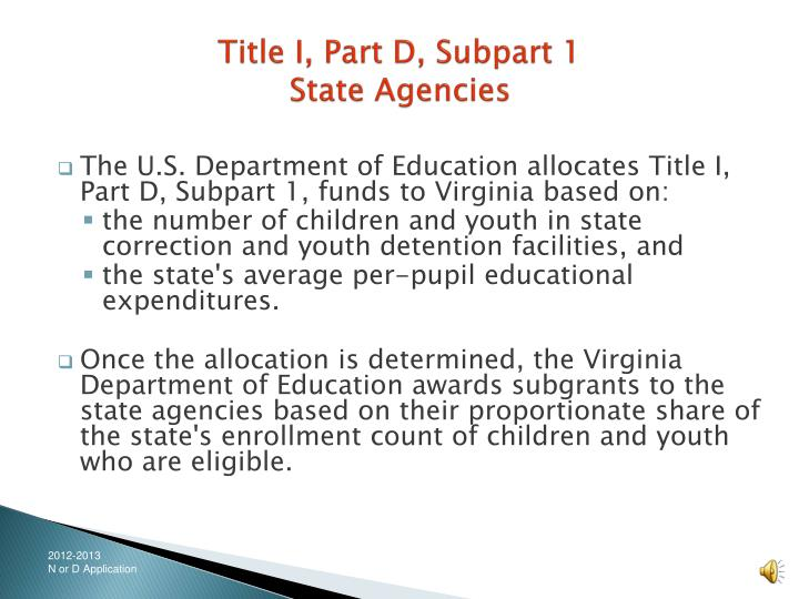 Title i part d subpart 1 state agencies