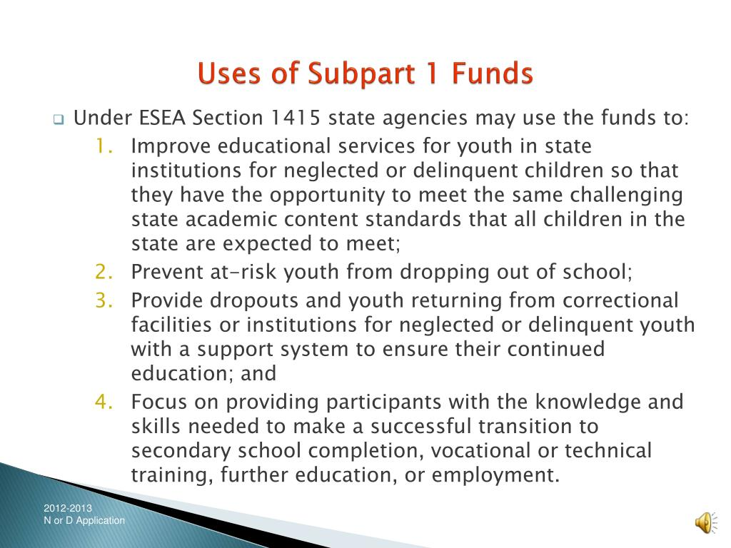 Uses of Subpart 1 Funds