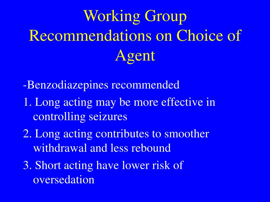 Working Group Recommendations on Choice of Agent