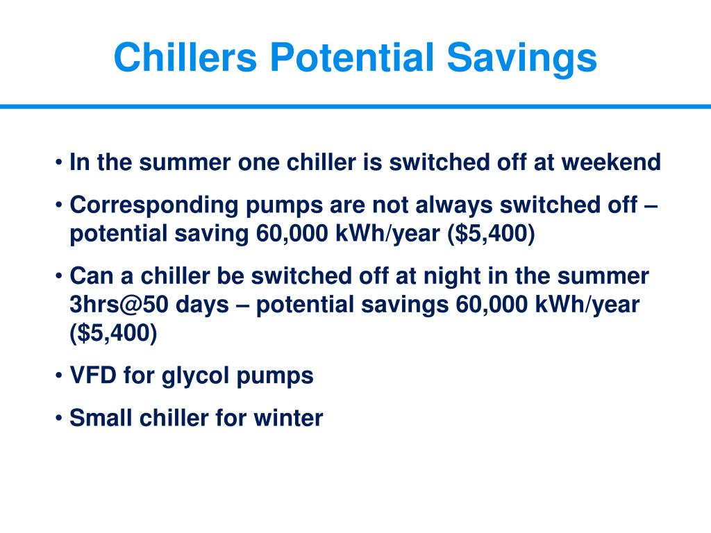 Chillers Potential Savings