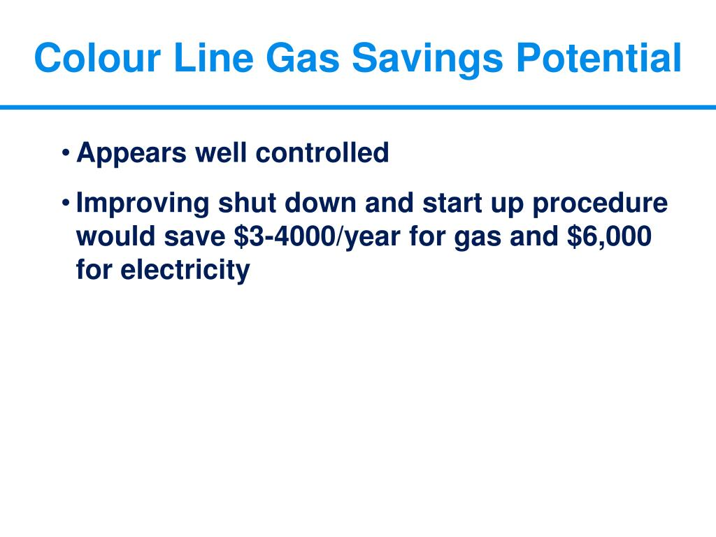 Colour Line Gas Savings Potential