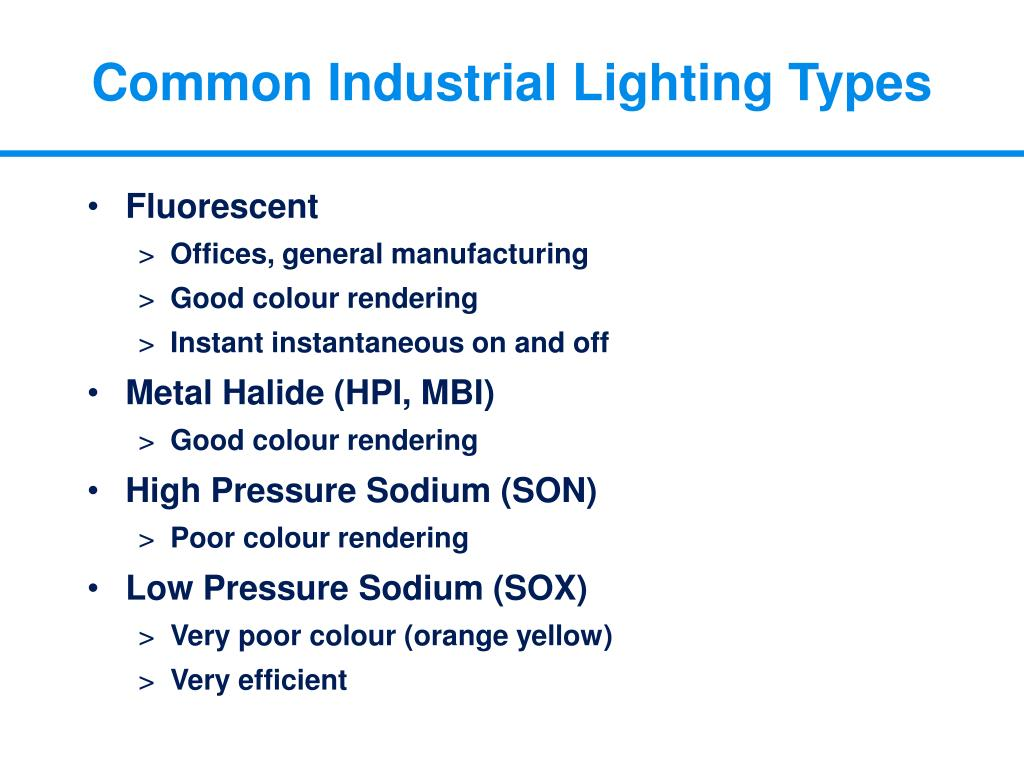 Common Industrial Lighting Types