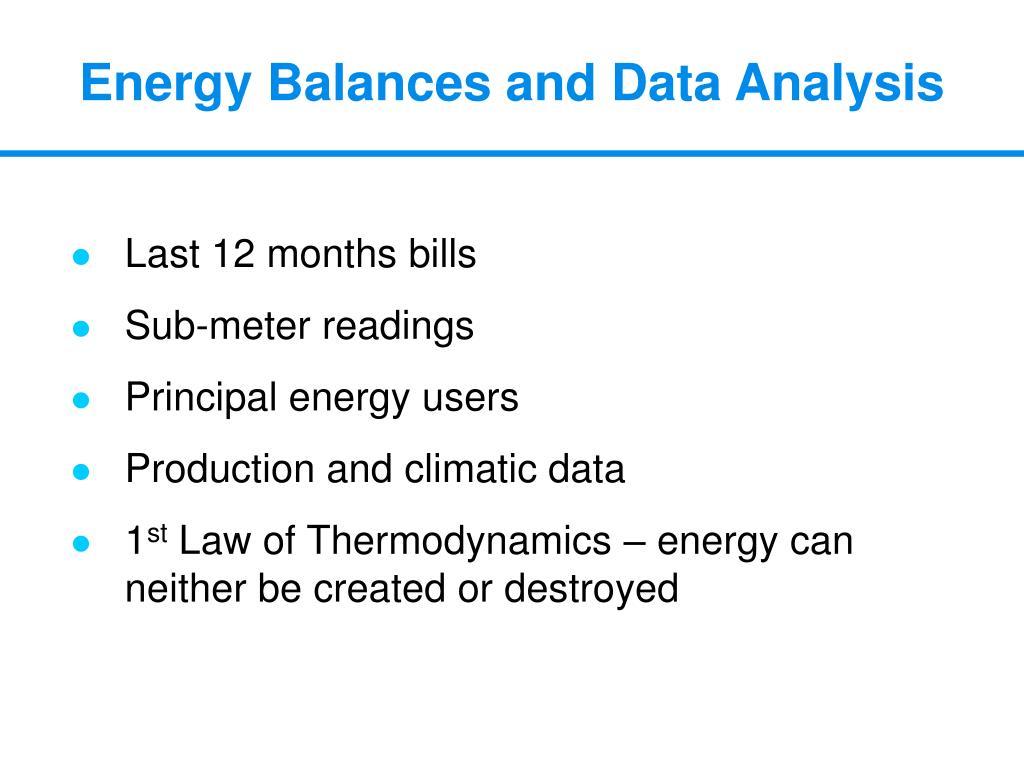 Energy Balances and Data Analysis