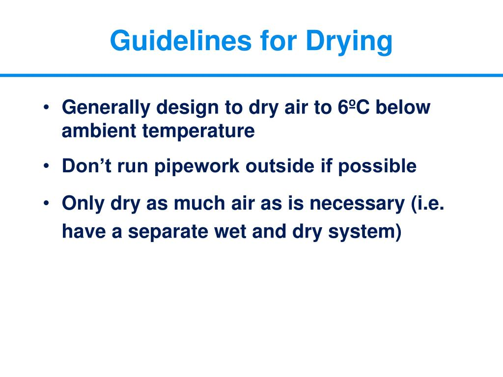Guidelines for Drying