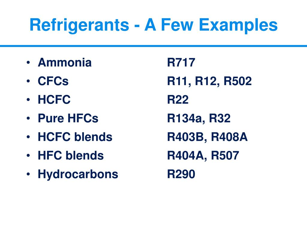 Refrigerants - A Few Examples
