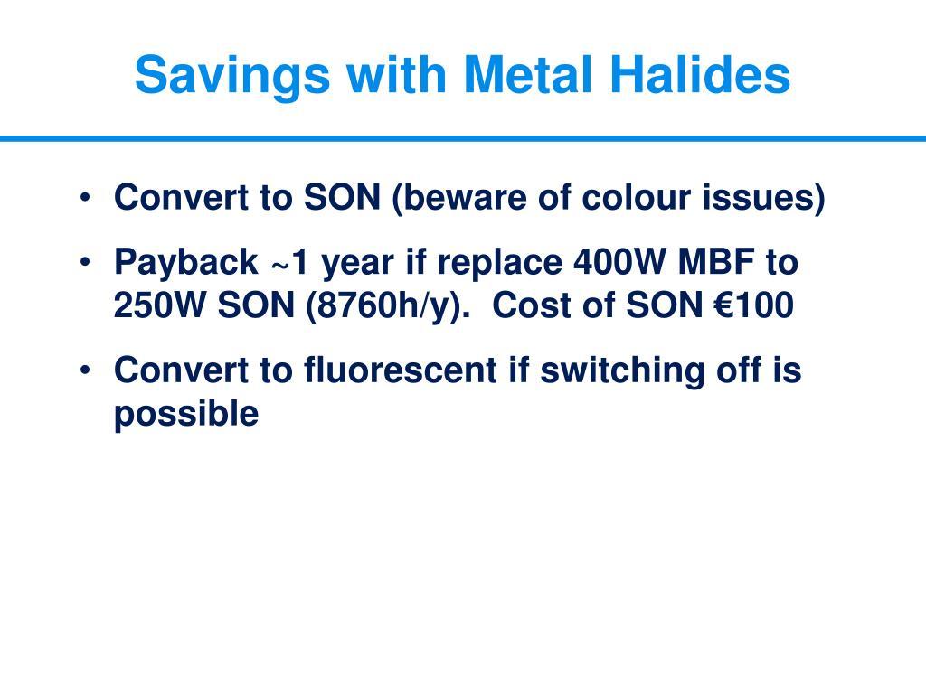 Savings with Metal Halides
