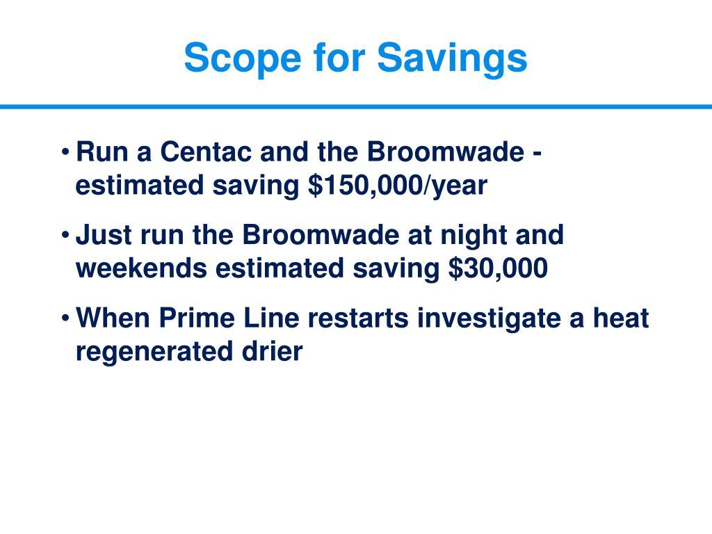 Scope for Savings