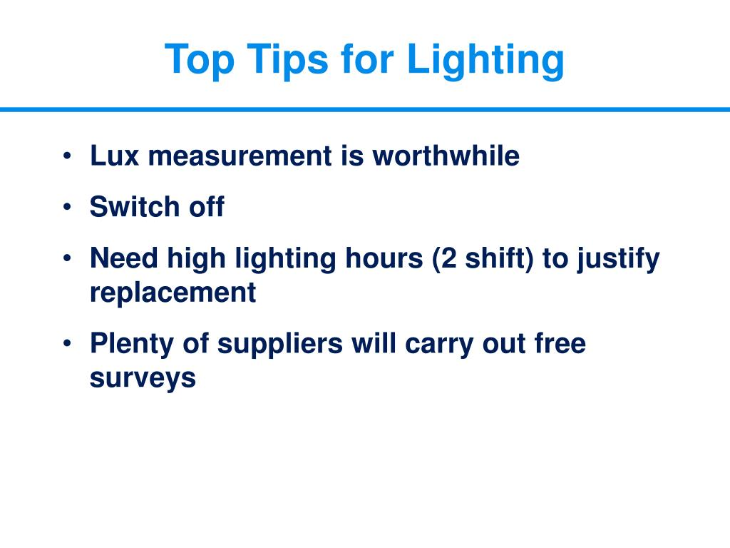 Top Tips for Lighting