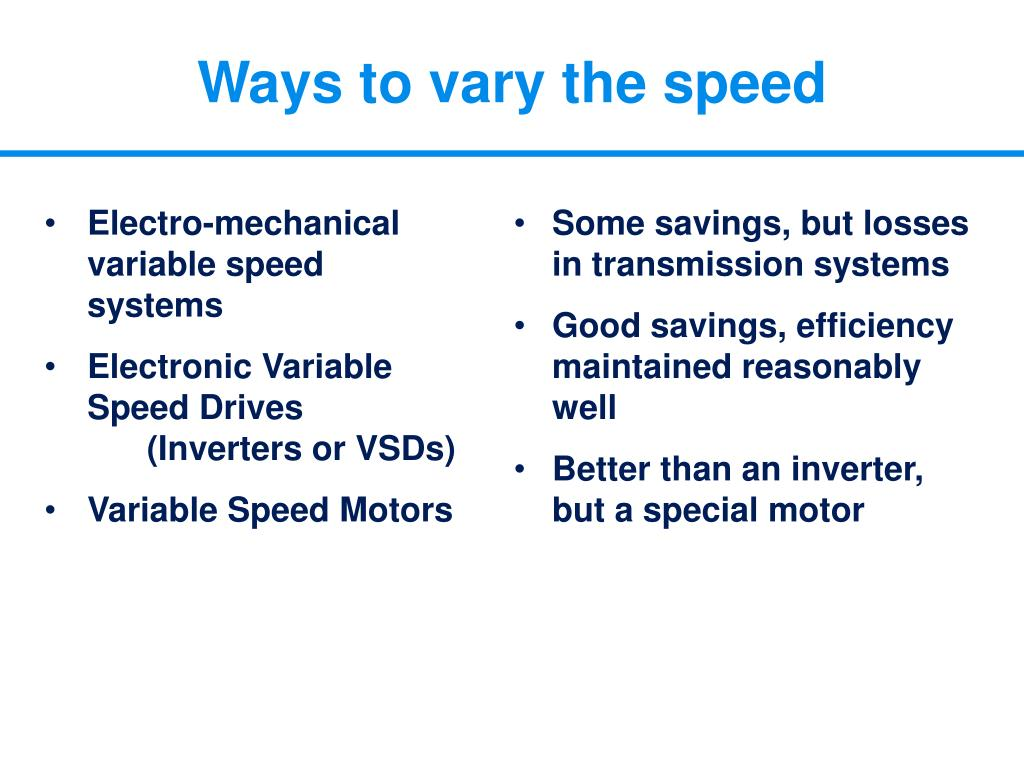 Electro-mechanical variable speed        systems