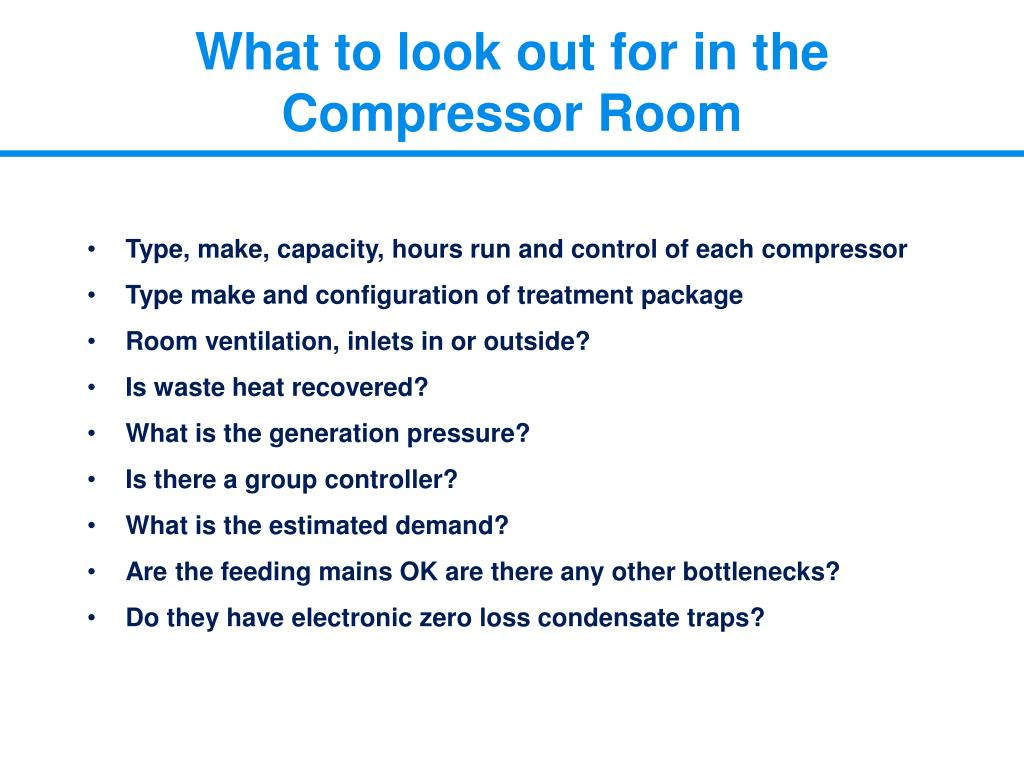 What to look out for in the Compressor Room