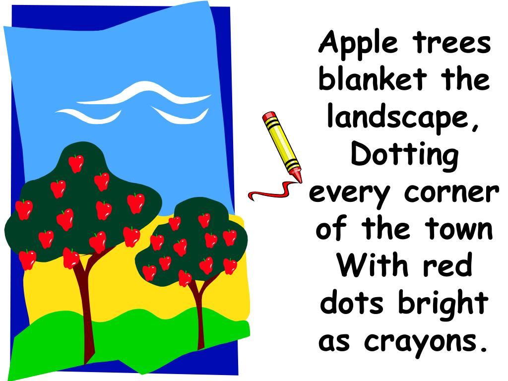 Apple trees blanket the landscape, Dotting every corner of the town With red dots bright as crayons.