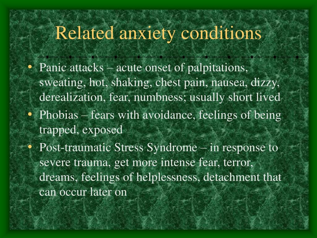Related anxiety conditions