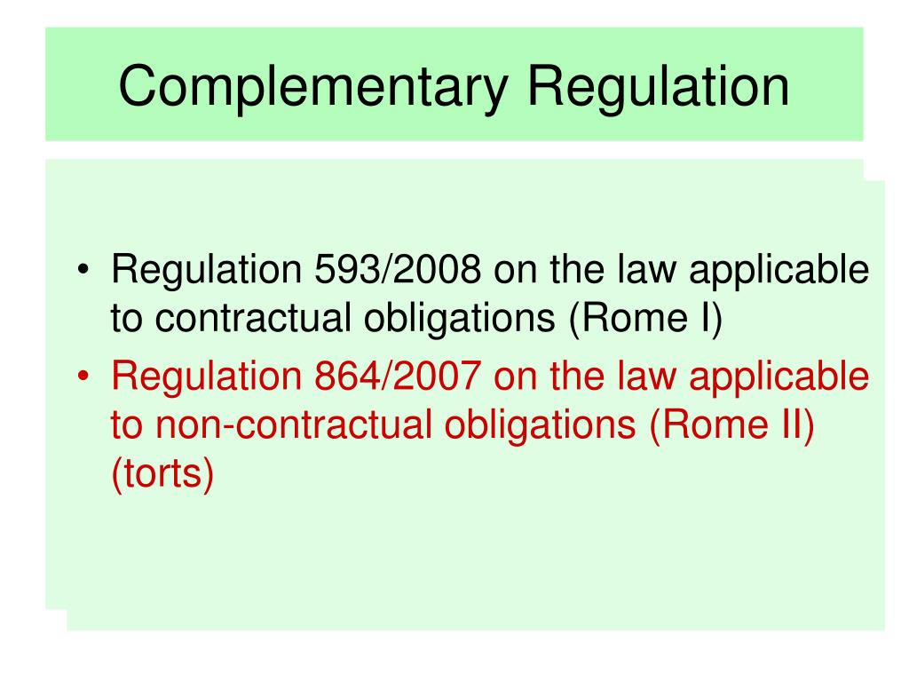 Complementary Regulation
