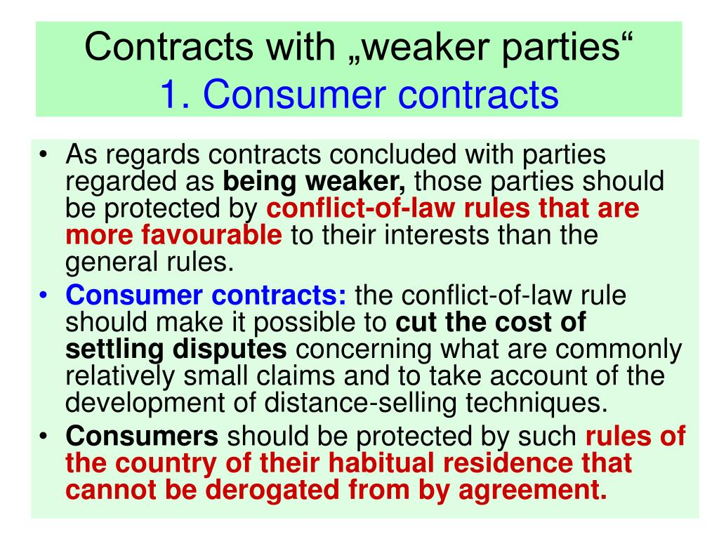 """Contracts with """"weaker parties"""""""