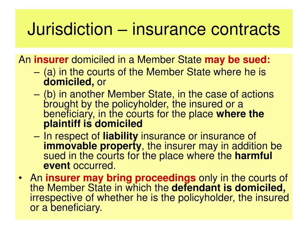 Jurisdiction – insurance contracts